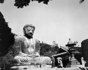The great bronze statue of Amida Buddha, cast in 1252, at Kamakura, Japan. Photograph