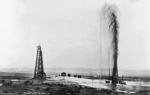 The great gusher at the Lakeview oil well in Kern County, California