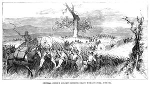GREAT SIOUX WAR, 1876. General George Crook's troops crossing Crazy Woman's