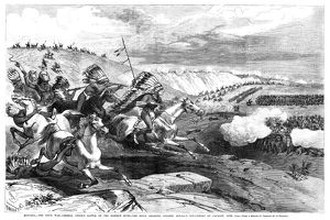 GREAT SIOUX WAR, 1876. Sioux warriors charging Colonel William Royall's cavalry