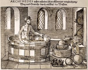 Greek mathematician and inventor. Archimedes in his tub, discovering the relationship