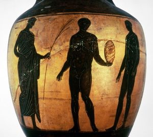 GREEK OLYMPIAN. Crowning a victor in the Olympic Games. Attic black figured vase, 6th century B