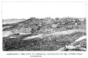 GREENLAND: GODTHAAB. A view of the town of Godthaab, Greenland. Wood engraving