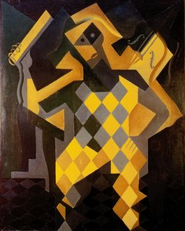 GRIS: HARLEQUIN. Juan Gris: Harlequin with violin. Oil on canvas, 1919.