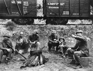 GROUP OF HOBOES, 1920s. Group of hoboes in the American midwest, 1920s.