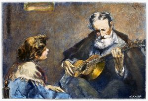 GUITAR PLAYER. /nWood engraving, late 19th century, after a painting by Modesto Texidor