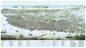HALIFAX: MAP, 1879. Bird's eye view of Halifax, Nova Scotia, featuring Fort George