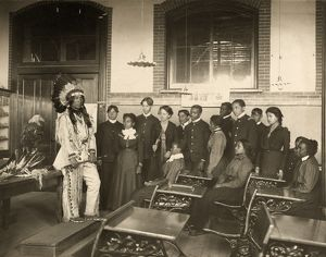 HAMPTON INSTITUTE, c1899. Louis Firetail, a Crow Creek Sioux man, wearing tribal clothing
