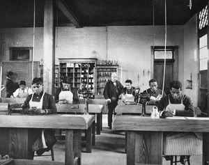 HAMPTON INSTITUTE, c1900. Class in manual training at Hampton Institute, Virginia