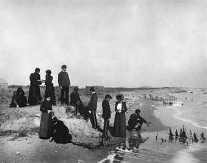 HAMPTON INSTITUTE, c1900. Geography class about land formation at Old Point Beach