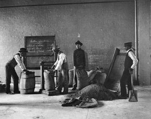 HAMPTON INSTITUTE, c1900. Mixing fertilizer in an agriculture class at Hampton Institute