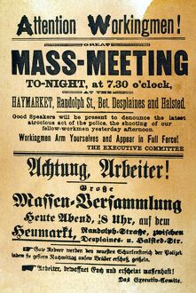 Handbill in English and in German calling the mass meeting at Haymarket Square, Chicago