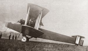 The Handley-Page Type O biplane bomber used by the British during World War I. Photograph