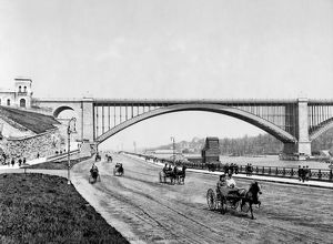 HARLEM RIVER, c1901. The George Washington Bridge and the Harlem River Speedway, New York