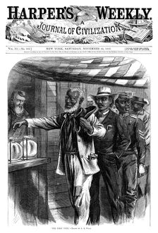 african american history/harpers weekly 1867 the first vote