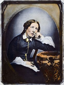 HARRIET BEECHER STOWE (1811-1896). American abolitionist and writer. Oil over a daguerrotype