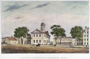 HARVARD UNIVERSITY, 1828. Harvard University in Cambridge Massachusetts. Color lithograph