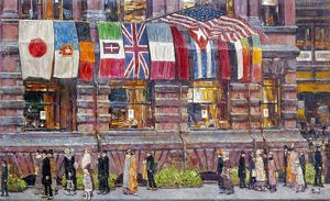 HASSAM: ALLIED FLAGS, 1917. Childe Hassam: Allied Flags, Union League Club. Oil on canvas, 1917