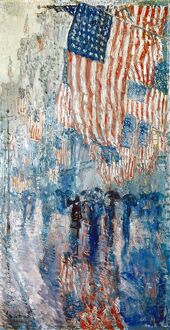 HASSAM: AVENUE IN THE RAIN. 'The Avenue in the Rain.' Oil on canvas by Childe Hassam