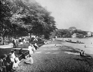 HAWAII: BEACH, c1914. Vacationers on Waikiki Beach, Oahu, Hawaii, c1914