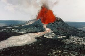 HAWAII: VOLCANOS, 1984. The east rift spatter cone of Kilauea, during a dual eruption of the Mauna Loa and Kilauea volcanos on the island of Hawaii, 30 March 1984. Photograph by Kepa Maly.