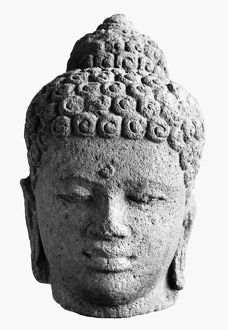Head of Buddha. Javanese sculpture made from volcanic rock, Sailendra Dynasty, 9th century A