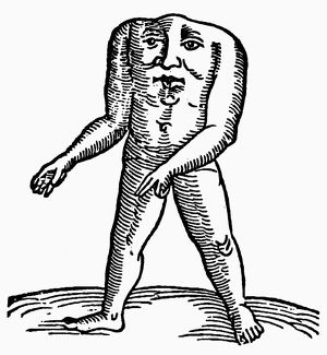 HEADLESS MAN, 1557. Woodcut from the 'Prodigiorum' of Conrad Lycosthenes, 1557