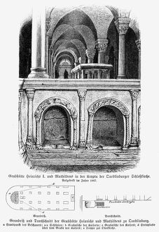 HENRY I (876-936). /nCalled Henry the Fowler. First Saxon king of Germany, 919-936. The tomb of Henry and his second wife, Mathilda, in the crypt of the castle church at Quedlinburg, Saxony. Wood engraving, 19th century.