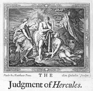HERCULES. The Judgement of Hercules. Etching, 18th century