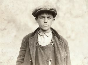 HINE: BOY, 1916. 17-year-old James Donovan, an Irish sweeper at the Fall River