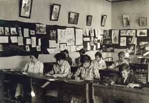 HINE: CLASSROOM, 1917. Art class at the Training School for Deaf Mutes in Sulphur
