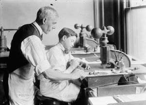 HINE: EMBOSSING SHOP, 1917. 14-year-old Fred cutting dies in Harry C
