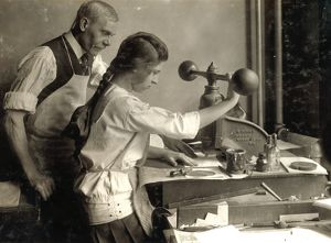 HINE: EMBOSSING SHOP, 1917. A 15-year-old girl cutting dies in Harry C