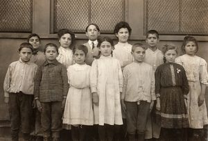 HINE: IMMIGRANT CHILDREN. A group of immigrant children at the Washington School in Boston