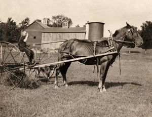 HINE: MOWING, 1915. An eight-year old boy driving a horse rake used for mowing farmland