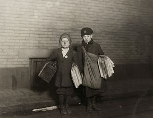 HINE: NEWSBOYS, 1912. 10-year-old Stanley Steiner, boot-black and newsboy with