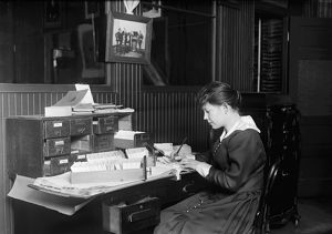 HINE: OFFICE GIRL, 1917. Malvina Amundsen, a 15-year-old office girl at the Eastern