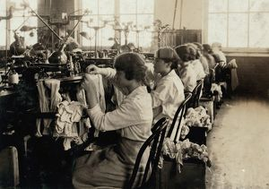 HINE: TEXTILE MILL, 1917. Girls making stockings in the Ipswich Mills in Boston