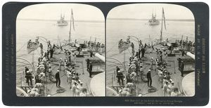 HMS PRINCE GEORGE, c1903. 'Boat drill on the British battleship Prince George