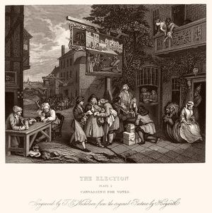HOGARTH: ELECTION. Canvassing for Votes. Engraving after the etching by William Hogarth