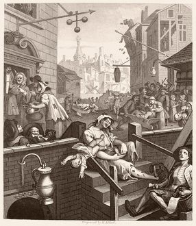 HOGARTH: GIN LANE. 'Beer Street and Gin Lane.' Steel engraving, c1860, after the original by William Hogarth (1697-1764).