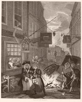 HOGARTH: FOUR TIMES OF DAY. /n'Night.' Steel engraving after the original, 1738, by William Hogarth.