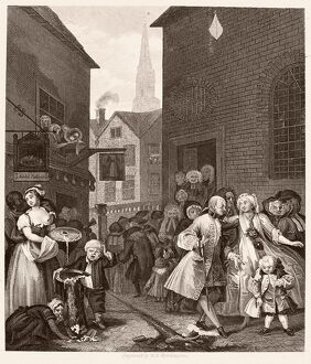 HOGARTH: FOUR TIMES OF DAY. 'Noon.' Steel engraving after the etching and engraving
