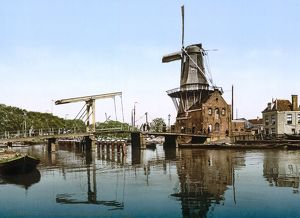 HOLLAND: WINDMILL. View of Catharine Bridge and windmill in Haarlem, Holland. Photochrome print