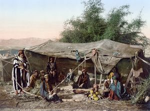 HOLY LAND: BEDOUIN CAMP. A Bedouin camp in the Holy Land. Photochrome, c1895.