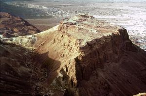 THE HOLY LAND: MASADA. Aerial view of the plateau.