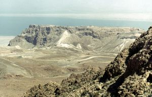 HOLY LAND: MASADA. Masada and the Dead Sea from the west.