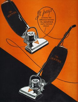 HOME APPLIANCE AD, 1926. Advertisement for the Hoover vacuum cleaner from an American