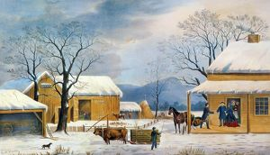 HOME TO THANKSGIVING, 1867. Lithograph, 1867, by Currier & ives.
