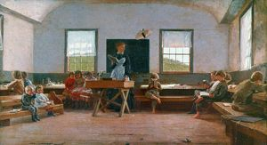 HOMER: COUNTRY SCHOOL. Oil on canvas by by Winslow Homer, 1871